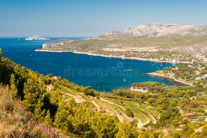 Panoramic view of the coastline near Cassis seen from the Route des Cretes & x28;Provence, France& x29; royalty free stock photos