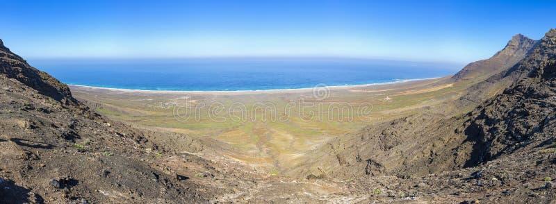 Panoramic view of Cofete Beach on Fuerteventura island, Canary Islands, Spain royalty free stock photos