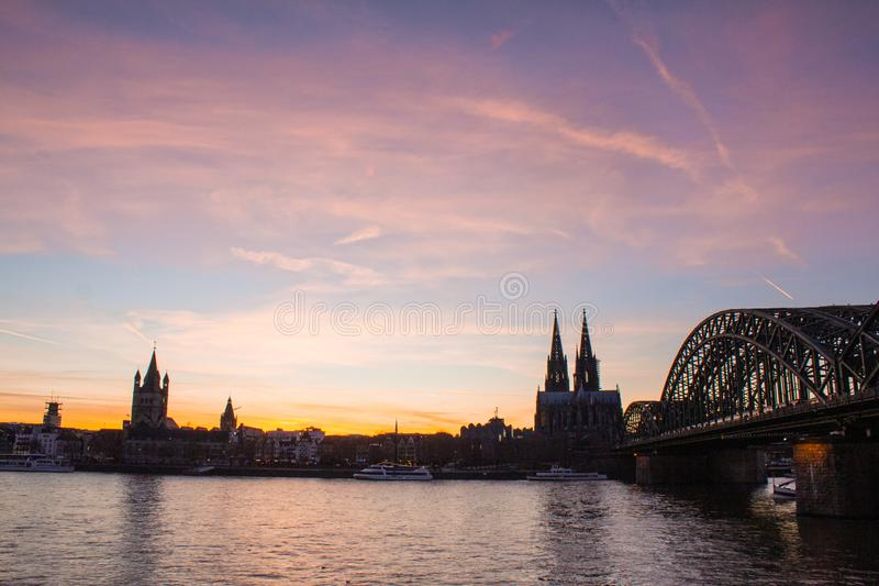 Panoramic view of Cologne, Germany with Cologne Cathedral, Hohenzollern Bridge and Old Town royalty free stock photography