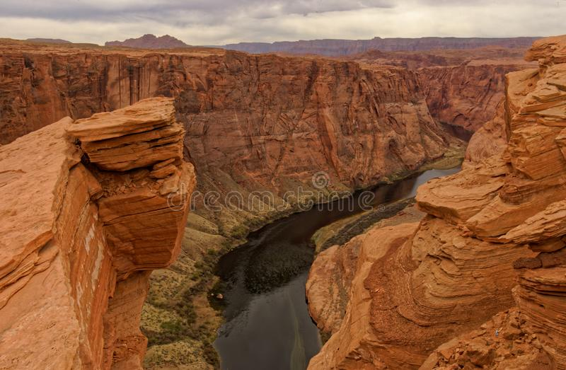Colorado River at Horseshoe Bend. A panoramic view of the Colorado River at Horseshoe Bend, Arizona stock images