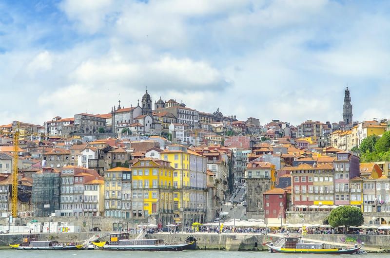 Panoramic view of colorful house in old town Porto, Portugal stock photography