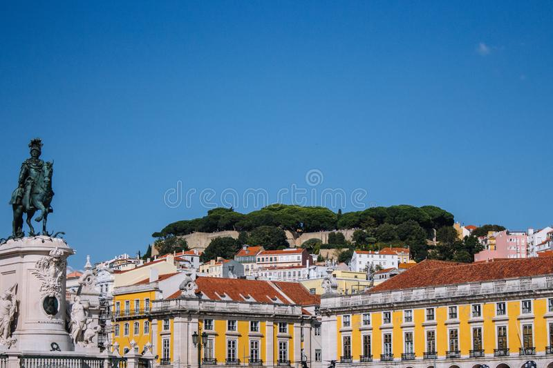 Panoramic view of Commerce Square, Portugal, Lisbon. Cityscape of historic Lisboa under clear blue sky. stock photo