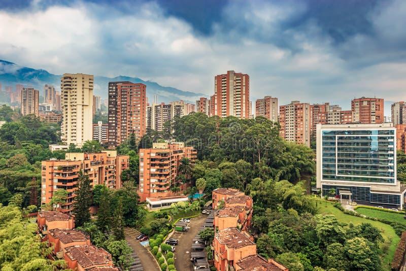 Cityscape El Poblado district of Medellin, Colombia. Panoramic view at the condominium, apartment buildings at exclusive area of Medellin called El Poblado royalty free stock photography