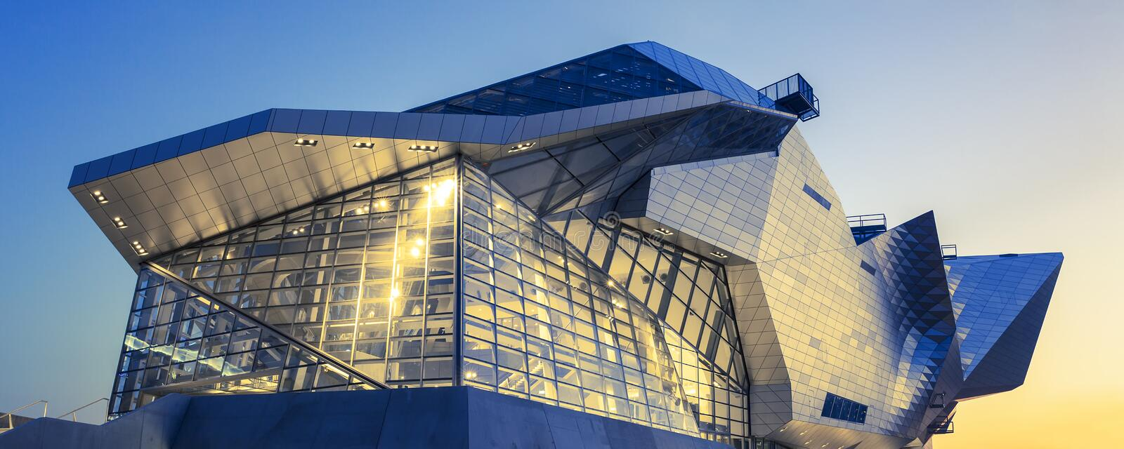 Panoramic view of Confluences Museum. LYON, FRANCE, DECEMBER 22, 2014 : Musee des Confluences. Musee des Confluences is located at the confluence of the Rhone royalty free stock photo
