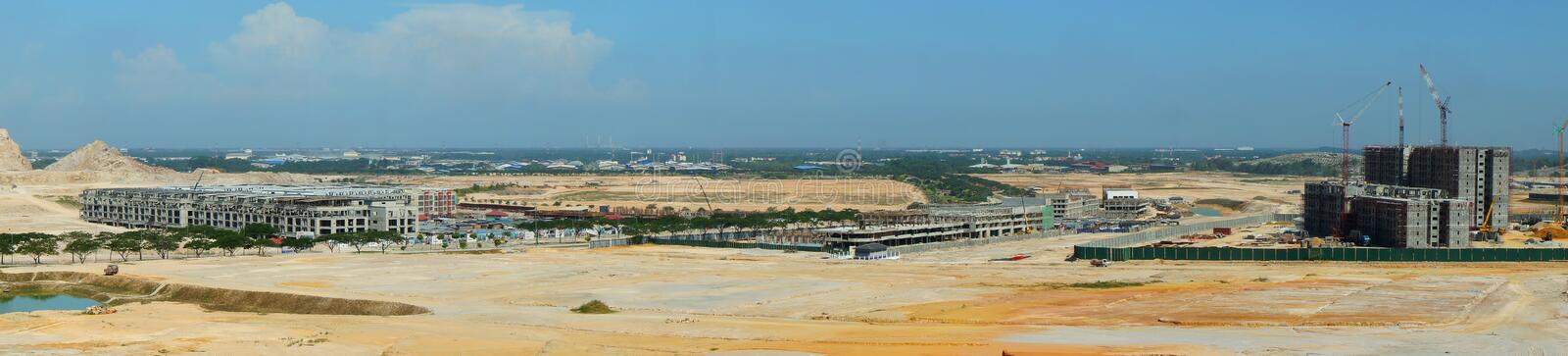 Panoramic view of construction site royalty free stock images