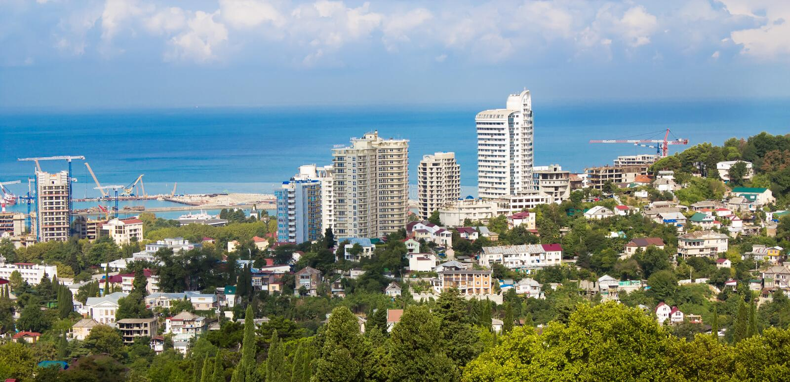 Panoramic view of the construction site of Sochi royalty free stock image