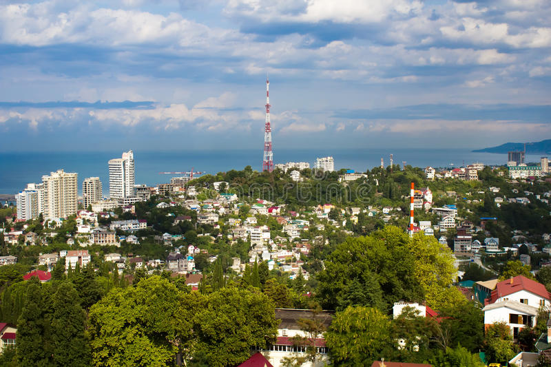 Panoramic view of the construction site of Sochi stock photo