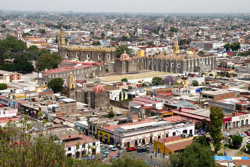 Panoramic view of the Convento Franciscano de San Gabriel Arcángel. Cholula, Puebla, Mexico royalty free stock image