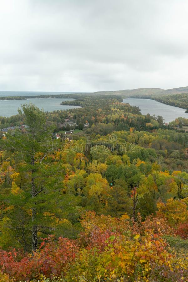 Panoramic view of Copper Harbor in Upper Peninsula of Michigan in Autumn stock photos