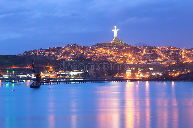 Panoramic view of Coquimbo and the Third Millennium Cross stock photography