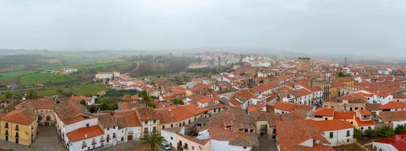 Panoramic view of Coria, in Caceres, Extremadura, Spain.  stock images