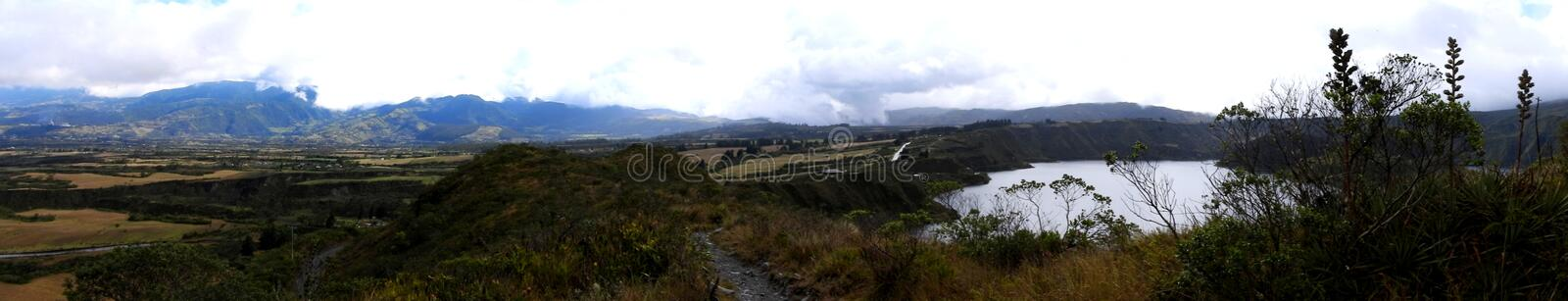 Panoramic view of Cotacachi crater lake, Ecuador. Hiking trail in the Cotacachi Cayapas nature park in Ecuador, South America. Ecological reserve, Cotacachi royalty free stock photography