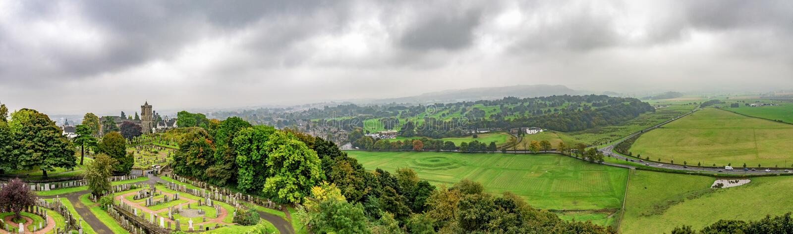 Panoramic view of countryside and old cemetery from Stirling Castle, Scotland stock images