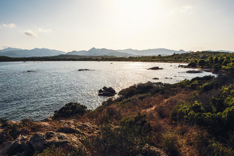 Panoramic view of a cove royalty free stock image