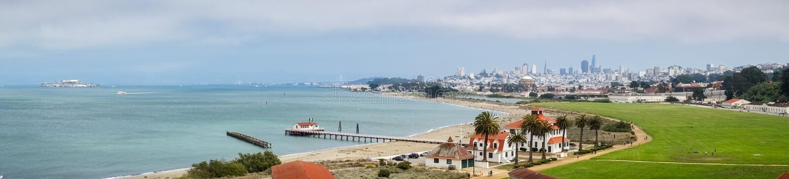 Panoramic view of Crissy Field and the bay shoreline royalty free stock images