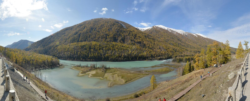 The panoramic view of Crouching Dragon Bay in Kanas Xinjiang China stock photo