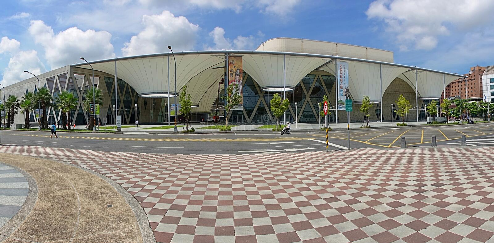 Panoramic View of the Da Art Center in Kaohsiung. KAOHSIUNG, TAIWAN -- JULY 1, 2014: The Da Art Center is a multi-functional art space for performances and royalty free stock images