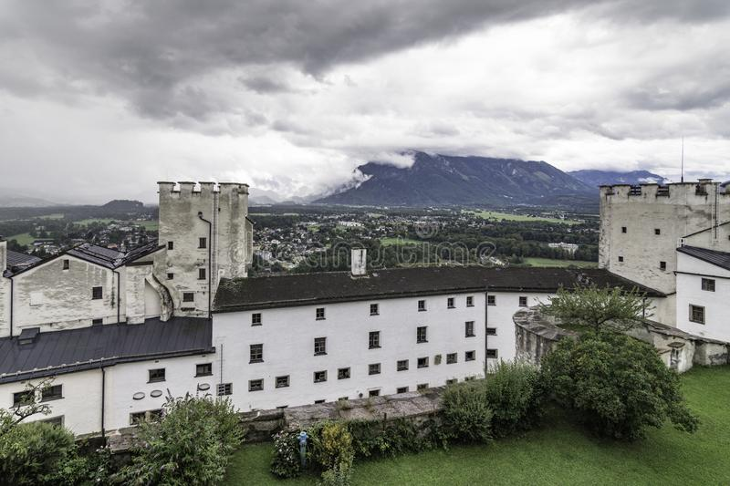 Panoramic view with the defensive towers of the Hohensalzburg Fortress Festung Hohensalzburg, Salzburg, Austria. Panoramic photograph with the defensive towers royalty free stock photography
