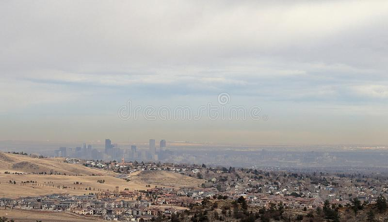 Panoramic view of Denver and the skyline of the city from Rocky Mountain park stock photo