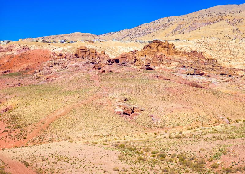 Panoramic view of the desert in Petra stock photography