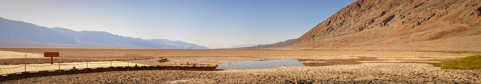 Panoramic View in the Desert at th e Bottom of Badwater Bassin stock photography