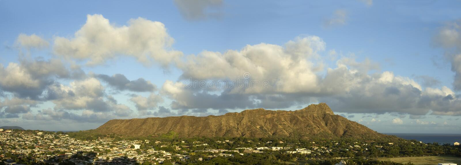Panoramic view of Diamond Head in Hawaii. royalty free stock images