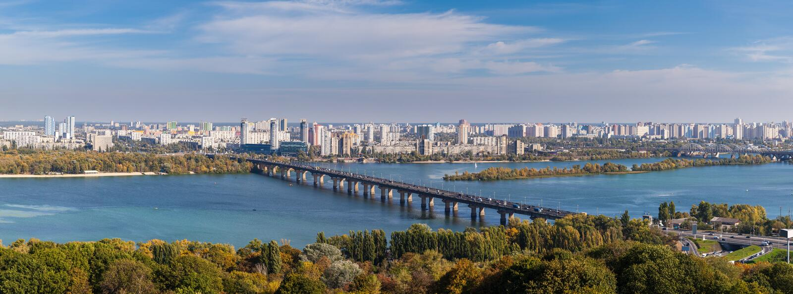 Panoramic view of Dnepr river and Kiev, Ukaine. Panoramic view of Dnepr river and Kiev city, Ukaine royalty free stock photography