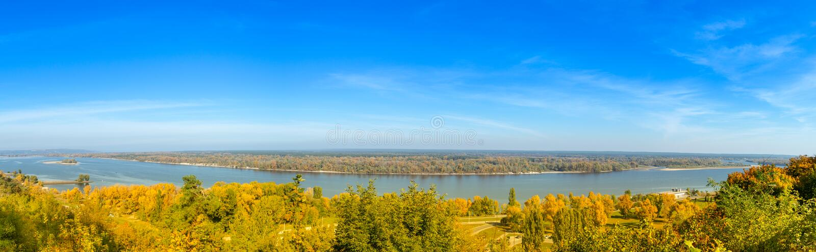 Panoramic view of the Dnieper River in autumn. Kaniv, Ukraine, Tarasova Hill Chernecha Hora royalty free stock image