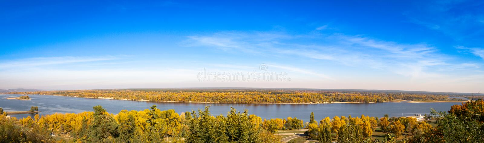 Panoramic view of the Dnieper River in autumn. Kaniv, Ukraine, Tarasova Hill Chernecha Hora royalty free stock photography
