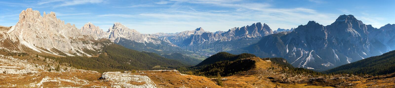 Panoramic view of dolomiti around Cortina d Ampezzo royalty free stock photos
