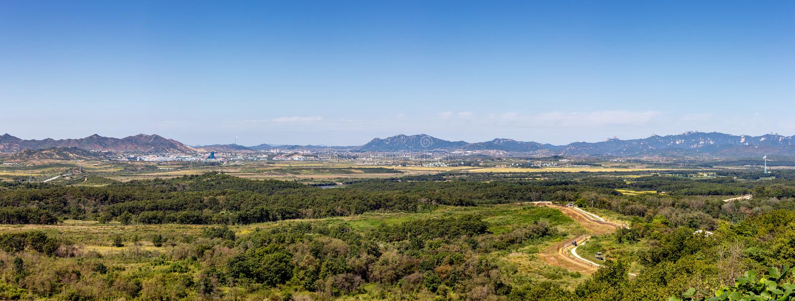 North Korea and the DMZ. Panoramic View from the Dora observatory stock photo