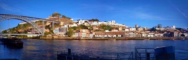 Panoramic view of Douro river near Ribeira in Oporto stock photos