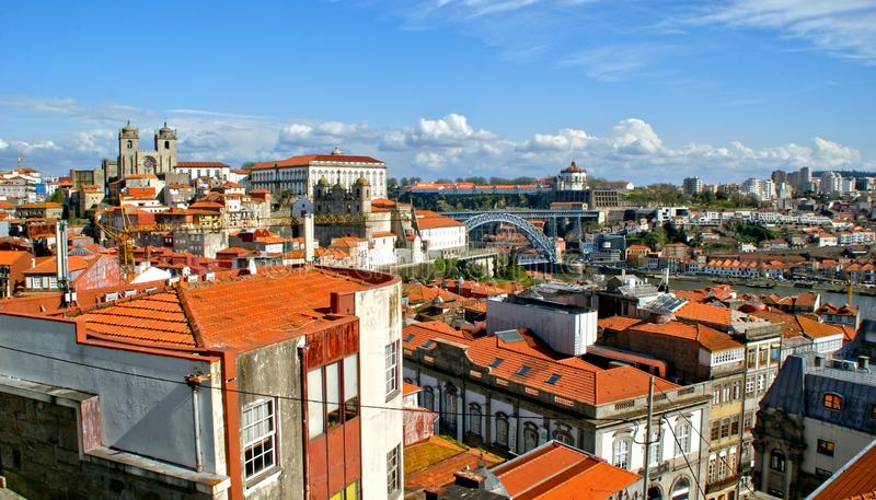 Panoramic view of Douro river and rooftops of Porto stock images