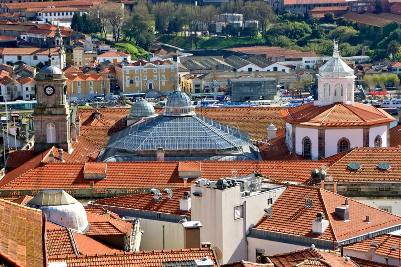 Panoramic view of Douro river and rooftops of Porto stock photo