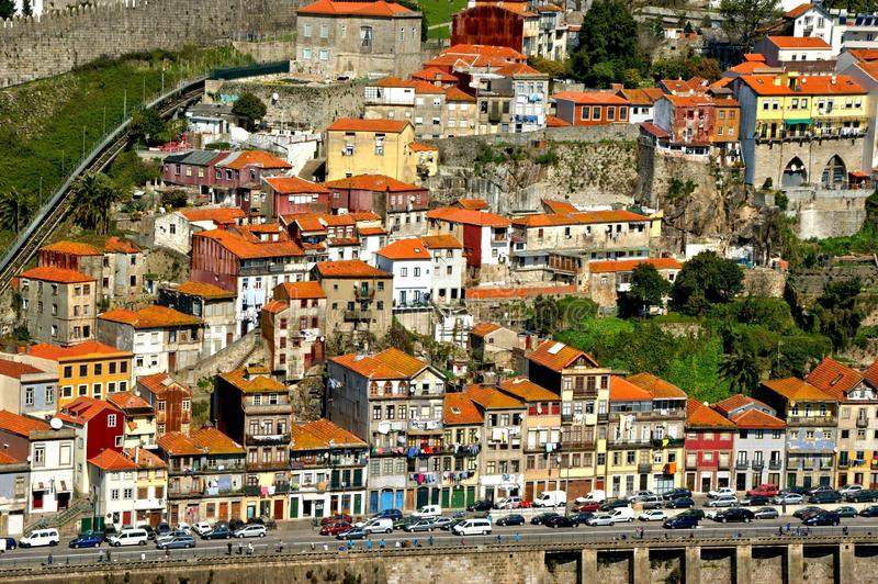 Panoramic view of Douro river and rooftops of Porto royalty free stock images