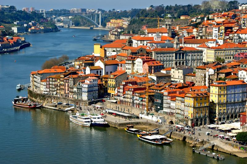 Panoramic view of Douro river and rooftops of Porto stock photography