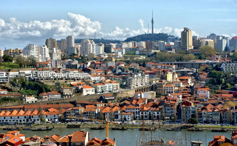 Panoramic view of Douro river and rooftops of Porto royalty free stock photos