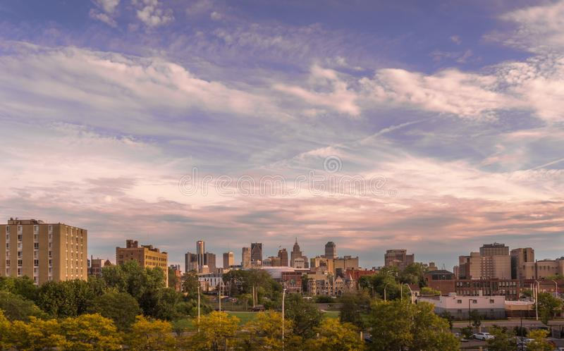 Panoramic view of the Downtown Detroit cityscape stock images