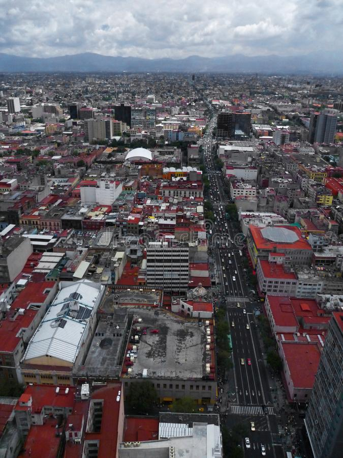 Panoramic view of downtown Mexico City in the Latin America tower royalty free stock photos