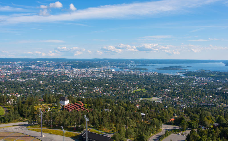 Panoramic view on downtown Oslo Norway stock photography
