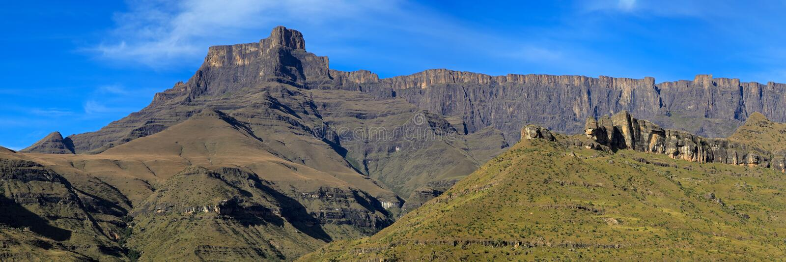 Panoramic view of the Drakensberg mountains stock photography