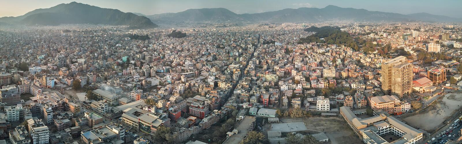Panoramic view from the drone to the capital of Nepal, Kathmandu. Sunset cityscape in Thamel district, the main tourist and stock photography