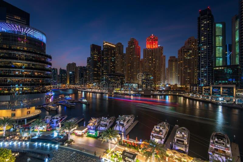 Panoramic view of Dubai Marina at night royalty free stock photography