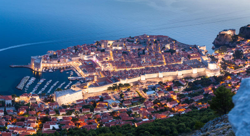 Panoramic view of Dubrovnik at night. Croatia stock photo