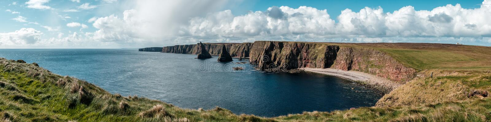 Panoramic view of Duncansby Head in Scotland royalty free stock image