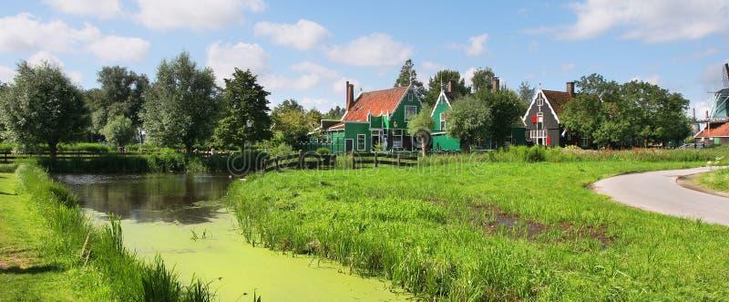 Panoramic view on dutch village. stock photos