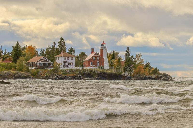 Panoramic view of Eagle Harbor Lighthouse in Upper Peninsula of Michigan in Autumn. Wonderful travel destination is Eagle Harbor Lighthouse in Upper Peninsula of stock image