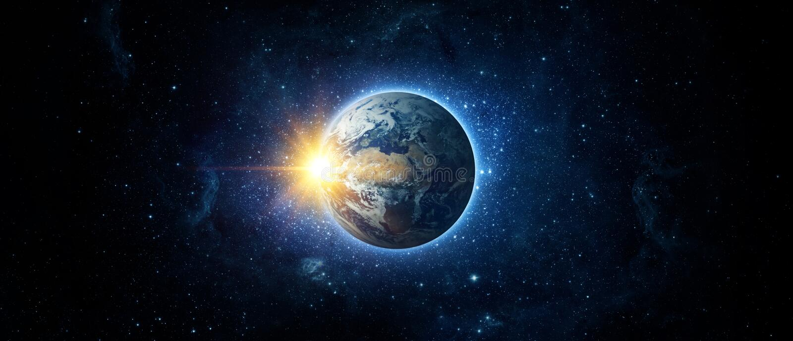Panoramic view of the Earth, sun, star and galaxy. Sunrise over planet Earth, view from space. Elements of this image furnished by NASA stock photos