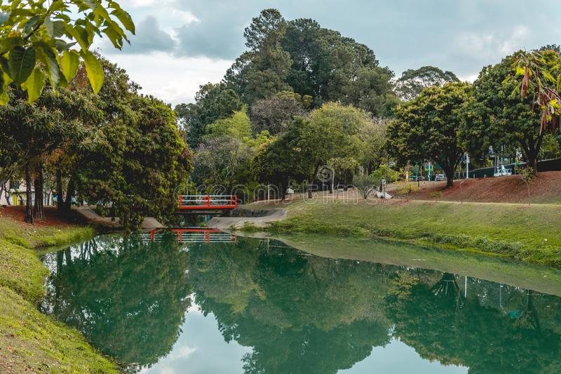 Panoramic view of the Ecological Park, in Indaiatuba, Brazil. Indaiatuba, Brazil; 2018, july. Panoramic view of the Ecological Park Parque ecologico stock photography