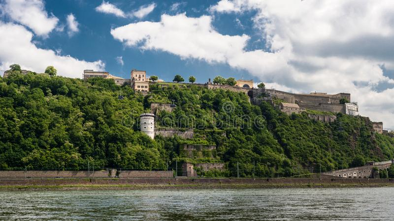 Panoramic view of The Ehrenbreitstein Fortress on the side of river Rhine in Koblenz, Germany. stock photos